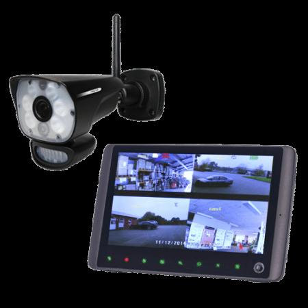 Trådløs HD videoovervågningssæt med PIR kamera og hvidt sensorlys-0