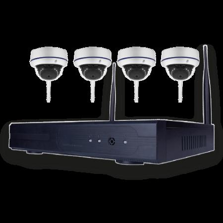 Trådløs HD videoovervågningssæt med 4 dome kameraer-0